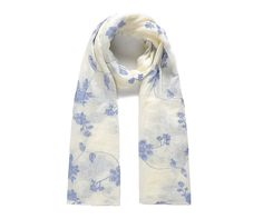 Vanilla/blue floral embroidered scarf