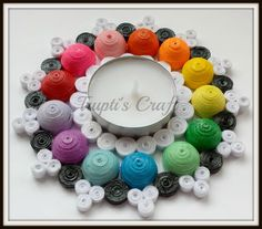 Multi Purpose Multi Color Paper Quilling  Tea Light Candle Holder by TruptisCraft on Etsy