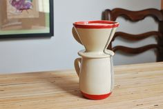 MADE TO ORDER Wheel Thrown Pour Over Coffee Mug Set in Red Stripes