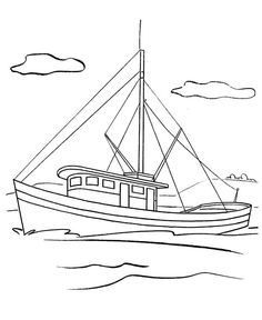 Fishing Boat Picture Coloring Pages