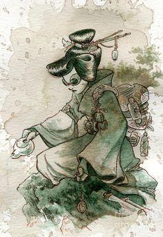 Title:    Green Tea    Artist:    Brian Kesinger    Medium:    Painting - Ink, Tea And Watercolor