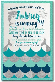 Swim Party Dolphin Birthday Invitations, professionally printed on shimmer paper and artfully hand-mounted on thick aqua blue metallic card stock, these stunning dolphin swim party invites are perfect for your upcoming summer birthday celebration! The colors and graphics are stunning and the design is totally unique!