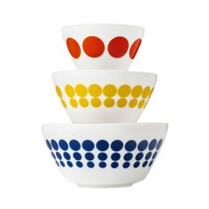 Vintage Charm™ Spot On 3-pc Mixing Bowl Set, inspired by Pyrex®   The dream of the primary colors kitchen lives on.  - Shop World Kitchen