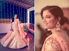 A Gold and Peach Lehenga for Sangeet ceremony of Real Bride Shanu of WeddingSutra.