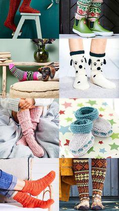 32 x ilmainen villasukkaohje | Meillä kotona Boot Cuffs, Leg Warmers, Winter Hats, Slippers, Socks, Diy, Leg Warmers Outfit, Bricolage, Slipper