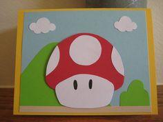 Super Mario Brothers Mushroom Birthday Card
