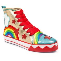 Up above the streets and houses, rainbow climbing high, Everyone can see it smiling over the sky. Paint the whole world with a rainbow in these bright and fun high top trainers. The upper has a golden hue with rainbow detail, smiling cloud, sunshine an Crazy Shoes, Me Too Shoes, Irregular Choice Shoes, It's Always Sunny, Sunnies, High Tops, Combat Boots, Fashion Shoes, High Top Sneakers