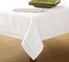 (dining room table) Linen Hemstitch Tablecloth #potterybarn