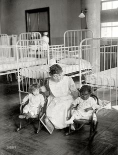 "New York circa 1917. ""St. Luke's Hospital children's ward."""