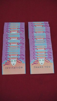 80 VINTAGE PAPER MOON GRAPHICS PARTY INVITATIONS & THANK YOU CARDS MASK BALL by PELZMAN DESIGN