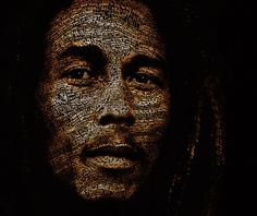 Type portrait of Bob Marley. What amazes me is how light and shadow are portrayed with color and how the contours of the face are represented by the flow/size of text.