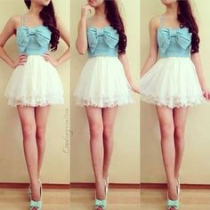 Blue Bow shirt w/ lace skirt. The skirt is a little to high. Just love the cute shirt