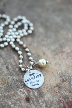 Champion Show Pig Metal Charm Necklace by ELPhotoDesign on Etsy, $20.00