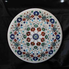 Coffee Table Top White Marble Antique Italian Inlay Floral Vintage living room furniture home decor Rare Persian Pietra Dura Taj Mahal Agra Agra, Taj Mahal, Floral Vintage, Top Vintage, Marble Coasters, Hand Shapes, Marble Stones, Pink Marble, Home Decor Items