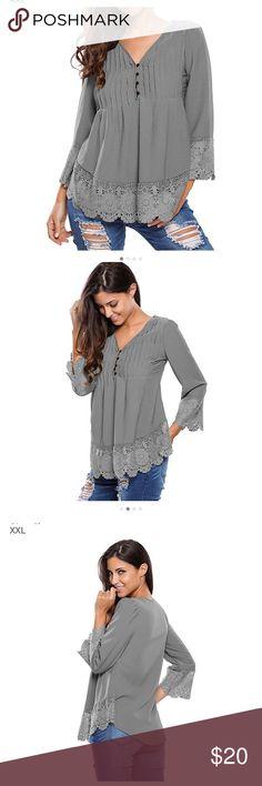Boho lace v-neck top Very cute stylish boho hippie grey top. NWOT Tops Blouses