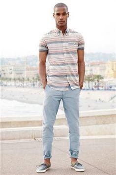 Buy Pink/Grey Horizontal Stripe Shirt from the Next UK online shop