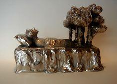 Silver-plated bronze sculpture 21 x 12 x Bronze Sculpture, Silver Plate, Fine Art Prints, Silverware Tray, Art Prints