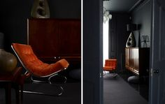 ( happy friday - orange, grey blue and timber )  #chair