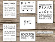 Very Modern Wedding Invitation SUITE - Black & White - Typography -THE MEGAN