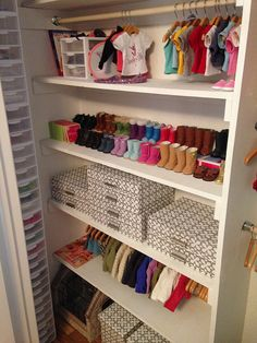 Just inside the closet on the Left- see Giant Stack of mini plastic drawers (by Sterilite), the dimensions of the three drawer chests are 8 1/2 x 7 1/4 by 6 7/8 inches, each individual drawer fits on average one outfit, posted by Poppets & Posies: Storage Solutions!