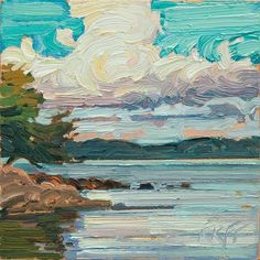 "Daily Paintworks - ""Arbutus Cove 6x6 oil on panel"" - Original Fine Art for Sale - © Ken Faulks"