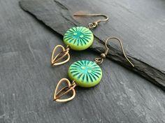 SALE green sunburst disc bead and heart charm earrings Handmade Jewellery, Earrings Handmade, Polymer Clay Beads, Organza Gift Bags, Heart Charm, Antique Gold, Charmed, Drop Earrings, 3d
