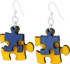 Puzzle Pieces Wood Earrings - Artes piezas de rompecabezas en madera
