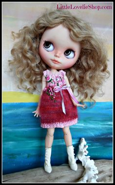 BLYTHE DOLL Dress - OOAK - Delicate mohair dress with vintage roses feature by Little Lovelies, $45.00 USD