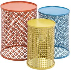 Benzara 55537 The Colorful Set Of 3 Metal Tables