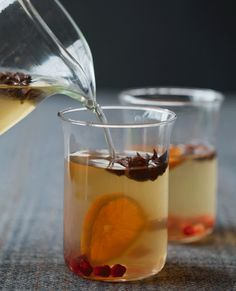 Spiced White Wine Sangria. I made the last one I pinned with the red and white wine and masses of fresh fruit in it for Christmas. They all loved it. This one sounds interesting, it has pomegranate seeds and star anise in it. I think it would be a good one to try out on your friends.