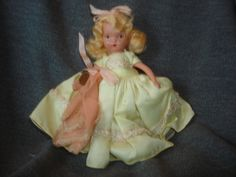 "NASB NANCY ANN Storybook Doll #182 Wednesday's Child ~ Yellow Taffeta Dress ~ 5-1/2"" Bisque Doll Stiff Legs ~ with Wrist Tag by PastPossessionsOnly on Etsy"