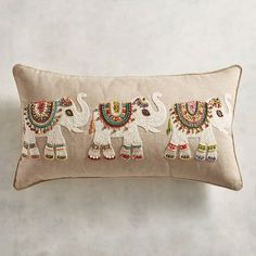 Even though they're triplets, each little elephant expresses its individuality through the exotic beadwork and rich colors parading across our lumbar pillow. Cushion Embroidery, Floral Embroidery Patterns, Embroidery Art, Pillow Fabric, Lumbar Pillow, Boho Diy, Bohemian Decor, Elephant Throw Pillow, Boho Cushions