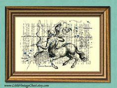 SAGITTARIUS CONSTELLATION  Centaur Zodiac by littlevintagechest, $7.99
