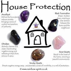 House Protection Crystal Set The crystals in this set have been carefully selected to complement each other and to provide protection for a harmonious home. The set includes five stones (Amethyst, Obsidian, Rose Quartz, Smoky Quartz and Black Tourm Crystal Magic, Crystal Healing Stones, Crystal Shop, Crystal Grid, Amethyst Crystal, Crystal Altar, Healing Crystal Jewelry, Grounding Crystals, Crystal Pendulum