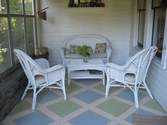 Painted Porch floor || like this design, with different colors