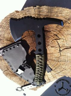 DSK TACTICAL BREACHER HAWK   $319.99 PRODUCT DESCRIPTION 1/4 thick steel, coated with Para-cord wrapped handle Kydex sheath.  Overall length 12.5 inches, head 7.5 inches.