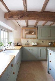 This kitchen..with soft muted colors