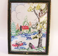 Vintage Framed Embroidery Cottage by Lake Mid Century 1960s