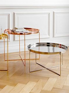 Habibi Tray Table :: Philipp Mainzer, 2008 :: Polished Brass, Copper and Stainless Steel Table Furniture, Home Furniture, Furniture Design, Console Design, Coffee Table Tray, Tray Tables, Brass Side Table, Metal Tables, Small Tables