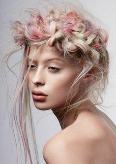 Pastel pink & peach hair + boho braid