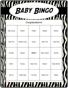 Baby Shower Bingo. Personalize any square and game scrambles cards for you. Baby shower game.