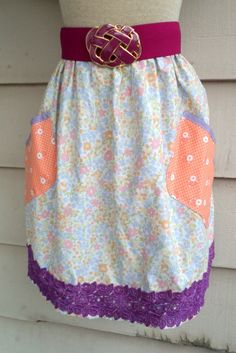 Upcycled Floral Skirt -  M to XL - Elastic Waisted Floral Chintz Skirt with Orange 1930's Print Pockets and Purple Floral Trim.  $26.