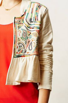 super cute jacket, love it with the red top underneath!  Valle Jacket #anthrofav