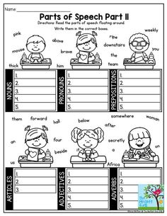 Parts of Speech- Engaging activity to help third grade students categorize the parts of speech! Tons more in the NO PREP Packet for February! Parts Of Speech Activities, Parts Of Speech Worksheets, Grammar Activities, 1st Grade Worksheets, English Activities, School Worksheets, Preschool Curriculum, Speech Therapy Activities, Homeschooling