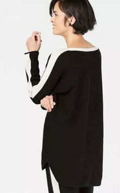 NWT CHARTER CLUB LUXURY Cashmere Color Block Sweater Black Cream L $160 #CharterClub #Pullover Cashmere Turtleneck, Cashmere Sweaters, Black Sweaters, Sweaters For Women, Cashmere Color, White Damask, Color Block Sweater, Black Cream, Sweater Cardigan