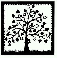 Heart tree with birdhouse