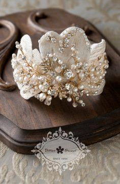 Bitter Sweet Jewellery Bridal Collection, gold plated bangle. #gold #14k #pearl #vintage #luxury #elegant #bridal #leaf #floral #delicate #wedding #gown #CZ #sparkle #clear #crystal