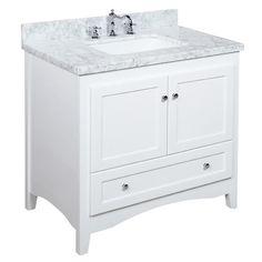 """White Bathroom Vanity 36 ronbow shaker 36"""" bathroom vanity cabinet base in white - wood"""
