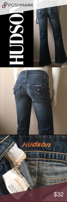 """Hudson Bootcut Jeans Hudson Bootcut Jeans come in a medium wash. Tag Size: 27 but definitely fit 26 better, they have shrunk a bit. Waist: 29"""" Rise: 7"""" (front) 10"""" (back) Hips: 32"""" Inseam: 30"""". 98% Cotton 2% Spandex. Made in USA. Cut# H10789 Style# 170DAK Hudson Jeans Jeans Boot Cut"""