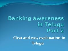 Banking Awareness Part 2 In Telugu - YouTube